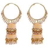 Pool Of Glowing Emraldpearly Jhumka - Earrings By Crunchyfashion