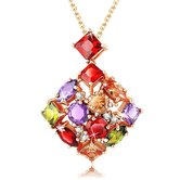 Ornamented  Swiss Cubic Zirconia  Plated Pendant - Necklaces By Crunchyfashion