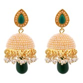 Dome Of Pearl Green Traditional Jhumki For Girls - Earrings By Crunchyfashion
