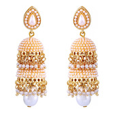 Glittering Pearl Traditional Jhumki For Girls - Earrings By Crunchyfashion