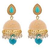 Dome Of Pearl Blue Jhumka - Earrings By Crunchyfashion