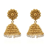 Chunk Of Golden Embellished Pearly Copper Jhumkas - Earrings By Crunchyfashion