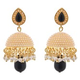 Dome Of Pearl Black Jhumka - Earrings By Crunchyfashion