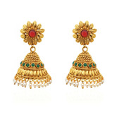 Golden Leaflet Color Rush Pearly Copper Jhumkas - Earrings By Crunchyfashion