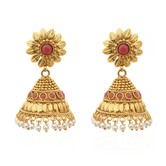 Gold Leaflet With Coral Splash Copper Jhumkas - Earrings By Crunchyfashion