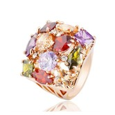 Veined Swiss Zirconia Arty Ring - Rings By Crunchyfashion