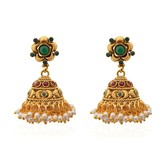 Emerald Ruby Ornamented Pearly Copper Jhumkas - Earrings By Crunchyfashion