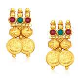 Gold Platted Traditional Temple Necklace Earring Set - Necklaces By Crunchyfashion