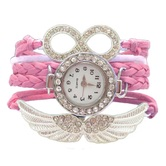 Shreya Collection Pink Leather Charm Watch Bracelet For Girls - 821
