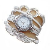 Shreya Collection White Leather Charm Watch Bracelet For Girls - 822