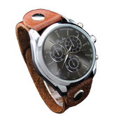 Classic Analog Brown Colour Genuine Leather Strap Watch For Men - 842