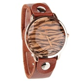 Classic Analog Fashion Brown Leather Bracelet Watch For Women - 839