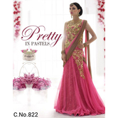 Ethnic Empire Pink Net Anarkali Semi-stitched Suit