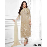 Ethnic Empire Beige Strait Suit Indian Designer Anarkali Salwar Kameez Dress