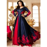 Mirror Work Banglory Silk Long Style Dress For Girls For Specail Uses In Wedding, Free Size Slawar Suit