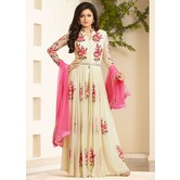 Cream Georgette Embroidred Party Wear Salwar Suit For Girls & Women