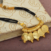 Craftsvilla Gold Plated, 5 Coin Laxmi Ginni Six Twisted Strand Traditional Adjustable Size Mangalsutra Tanmaniya,