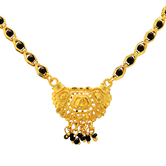 Craftsvilla Gold Plated Black Bead Studded, Small Simple And Sober Mangaslutra Necklace Jewellery
