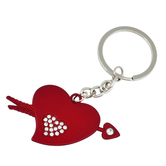 Memoir Cz Studded Red Coated Brass, Silky Smooth Heart And Arrow Love Keyring For Gift