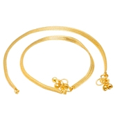 Craftsvilla Gold Plated Flat Snake Chain Design Ghungroo Anklet