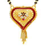 Craftsvilla Gold Plated Cz Studded Red Meena, Heartshape Mangalsutra Necklace