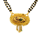 Craftsvilla Gold Plated Oval Shape Peacock Design Ethnic Traditional Mangalsutra Necklace Jewellery