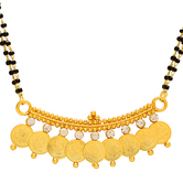 Craftsvilla Gold Plated Cz Studded 9 Laxmi Coin Ginni Navgrah Mangalsutra Tanmaniya Chain Necklace Jewellery