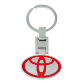 Memoir Stainless Steel Red Coloured Toyota Emblem Car Accessory Car Keychain
