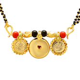 Craftsvilla Gold Plated 3 Wati Laxmi Coin Faux Ruby Studded 30 Inch Mangalsutra Tanmaniya Necklace