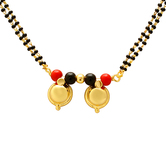 Craftsvilla Gold Plated Dual Wati, Red And Black Bead Studded, Ethnic Traditional Mangalsutra Necklace Jewellery