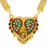 Craftsvilla Gold Plated Cz Meena, Heritage Exclusive Handmade Ethnic Traditional Necklace Mangalsutra