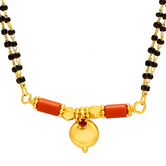 Craftsvilla Gold Plated Single Wati, Coral Bar, Forever Favourite Simple Elegant Ethnic Mangalsutra Tanmaniya Chain Necklace Jewellery
