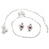 Craftsvilla Silver Plated Thin String Ghungroo Anklet & Red Toering Combo Set