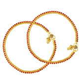 Craftsvilla Gold Plated Red Colour Cz Studded Stylish Wedding Bridal Anklet Traditional Ethnic Jewellery