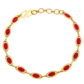 Craftsvilla Gold Plated Red Stone Lightweight Sleek And Sober Bangle Bracelet Jewellery For Girls And Women