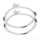 Craftsvilla Silver Plated Coin Ginni Design Colourful Cz Studded Ghungroo Payal Pajeb Brass Anklet  (pack Of 2)