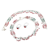 Craftsvilla Silver Plated Colorful Kundan Meena Anklet & Red Toering Combo Set