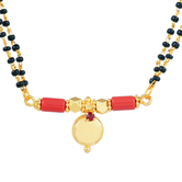 Craftsvilla Gold Plated Ruby Red Cz Studded Red Single Wati Thali Tanmaniya Mangalsutra Necklace Jewellery