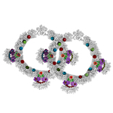 Craftsvilla Silver Plated Super Broad Handmade Colourful Peacock Inspired Traditional Ethnic Bridal Jewellery Anklet
