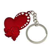 Memoir Cz Red Coated Brass Hearts And Roses Keyring For Gift