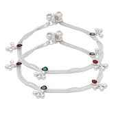 Craftsvilla Silver Plated Double String, With Green, Red, Blue Cz Enriched With Meena Work, Ghungroo Pajeb Payal Anklets
