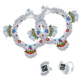 Craftsvilla Silver Plated Rare And Exclusive, 1.50 Inch Broad, 85 Gms. Heavy Ghungroo Studded Colorful Anklet With Matching Toerings