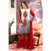Off-white And Red Printed Salwar Kameez With Red Chiffon Dupatta