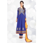 Blue Georgette Anarkali Suit With Yellow Dupatta