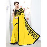 Yellow Georgette Emb...