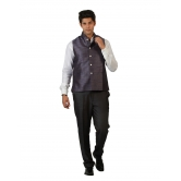 Amora Designer Ethnic Purple Solid Blended Jute Koti (waistcoat) For Men