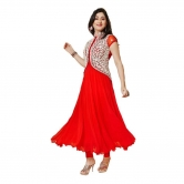 Red New Fancy Casual Semistitched Suit Dress