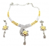 9blings Party Wear Rhinestone Gold & Silver Plated Flower Design Kundan Necklace Set O139
