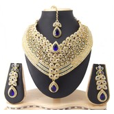 Mithya Collection Royal Blue Choker Cz Gold Plated Necklace Set Maang Tikka 05