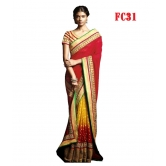 Yellow And Red Bordered Saree